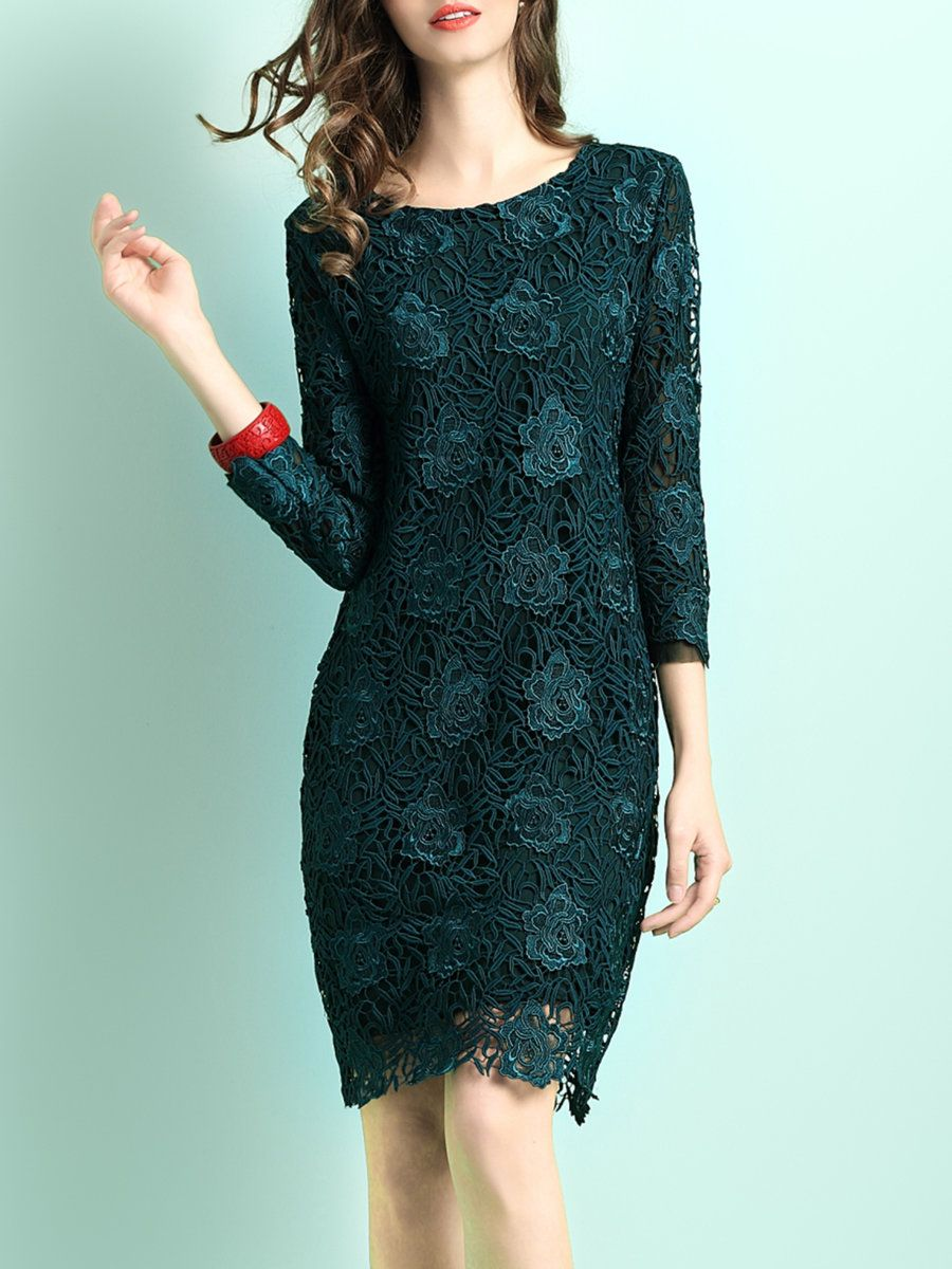 Adorewe stylewe midi dresses yimei green embroidered floral