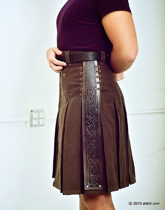 Brown Steampunk with Leather Accent Pleat by techdragon on Etsy, $275.00