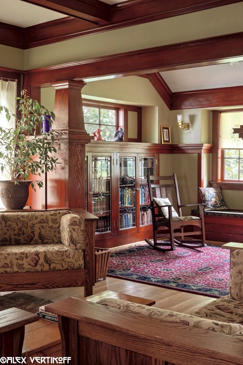 Pin On Arts Crafts Living Rooms Craftsman bungalow living room