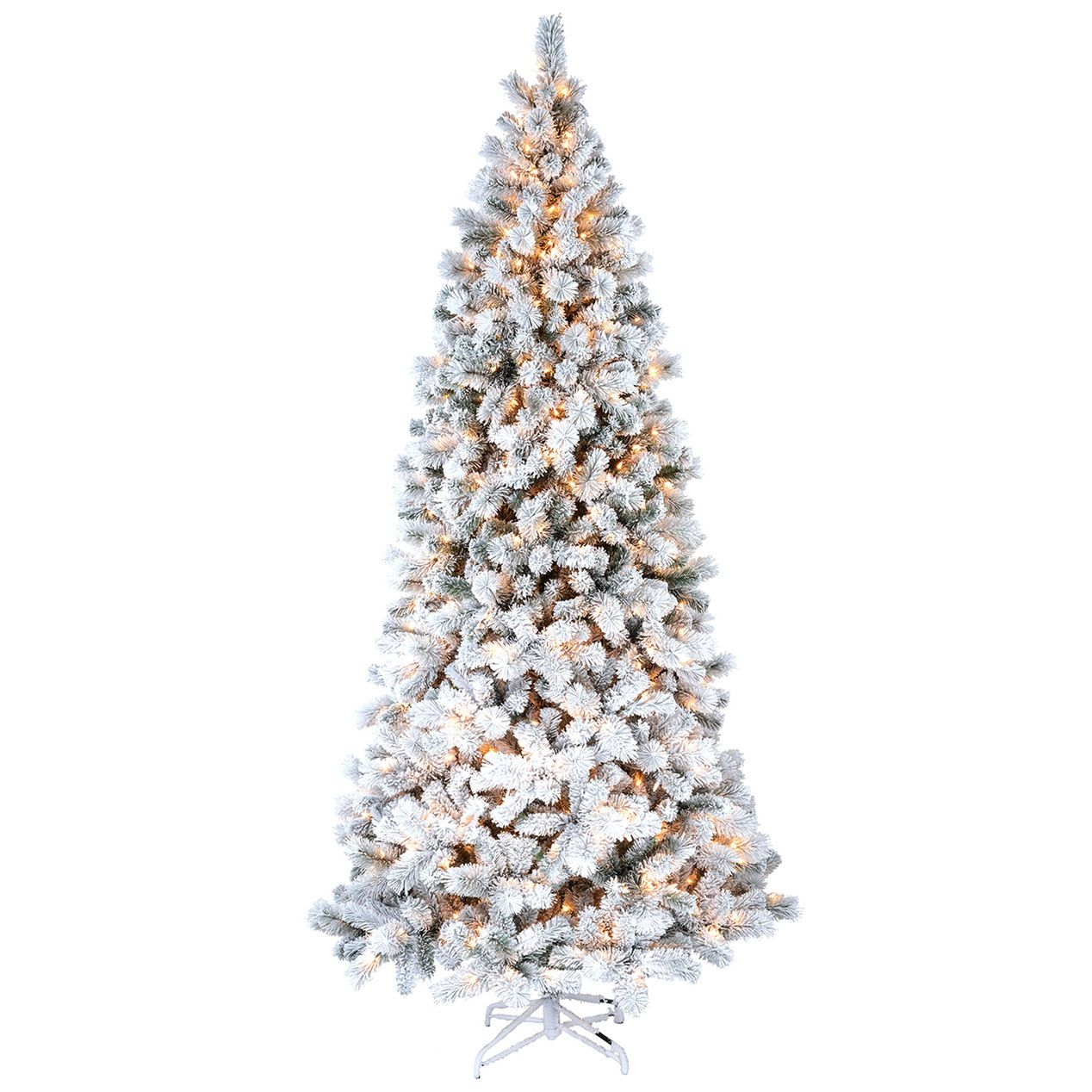 D28 9ft Pre Lit Haven Flocked Pine Christmas Tree At Home Flocked Christmas Trees Pine Christmas Tree Christmas Tree