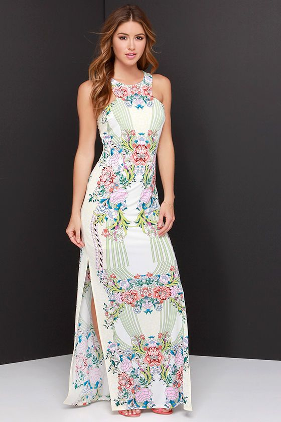 bfe7add1e06 Tropi-Cali Livin  Cream Mirror Print Maxi Dress at Lulus.com!