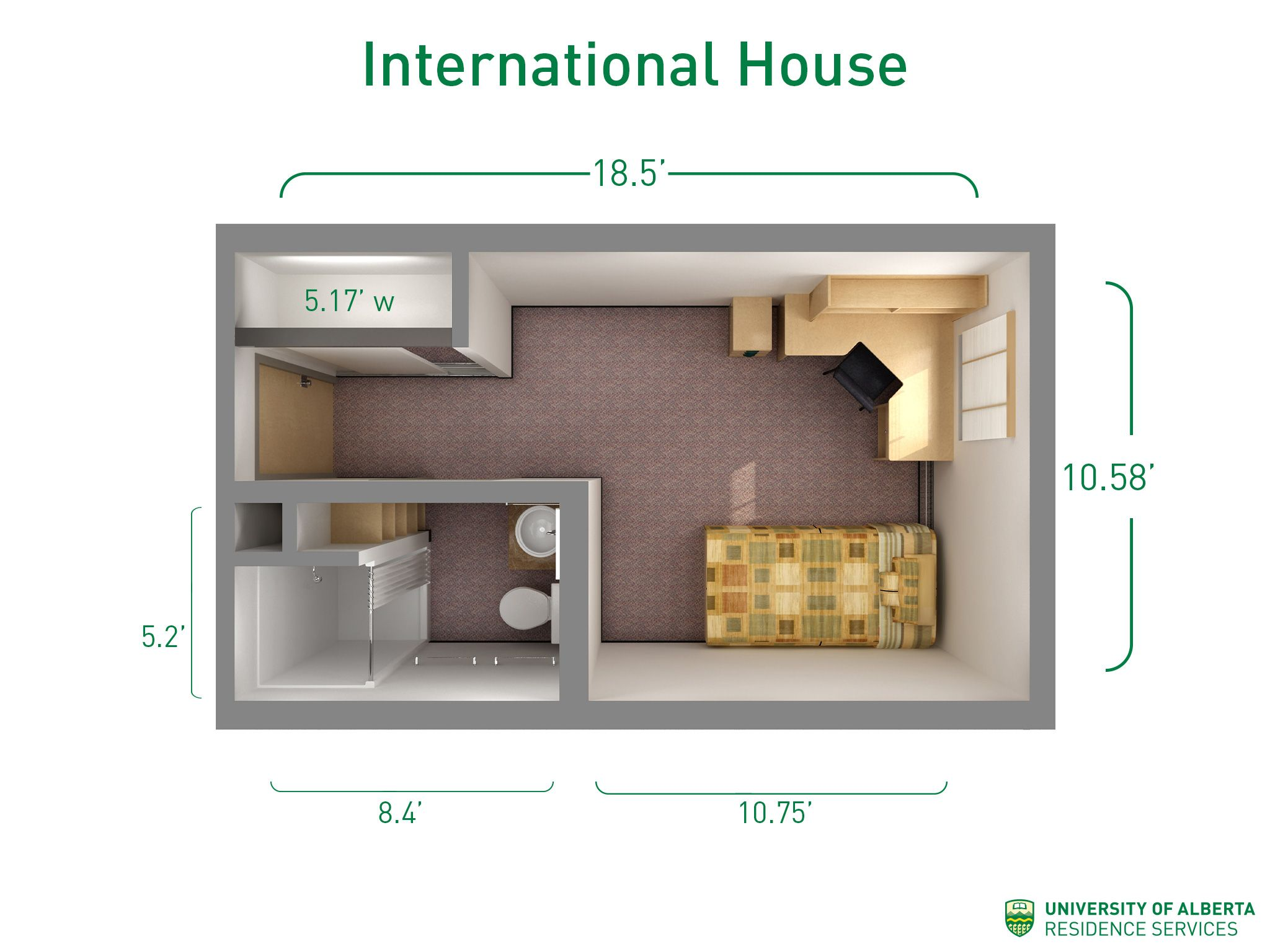 Floorplan with dimensions for units in International House