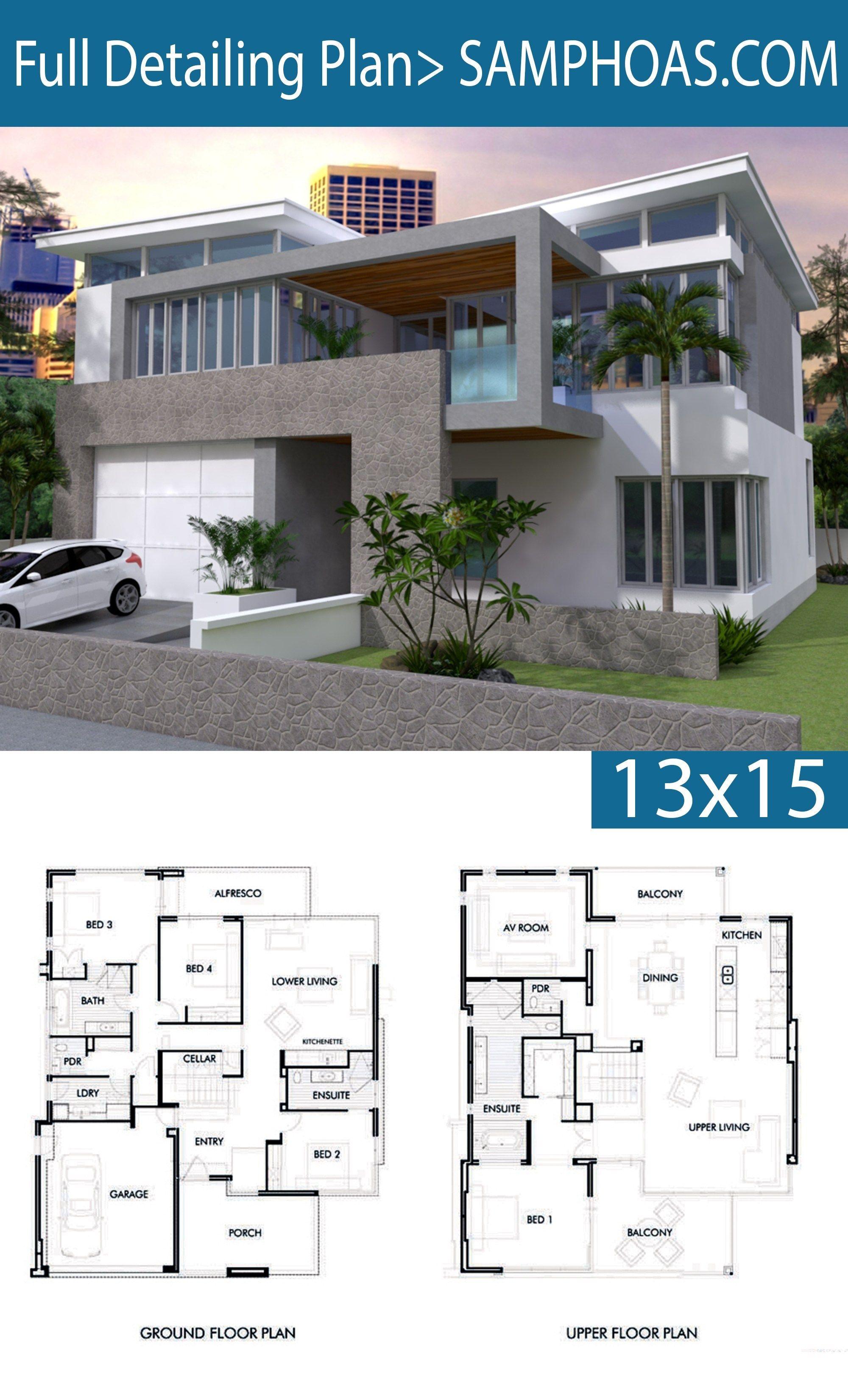 4 Bedrooms House Plan 13x15m Plan Architecture Maison Maison