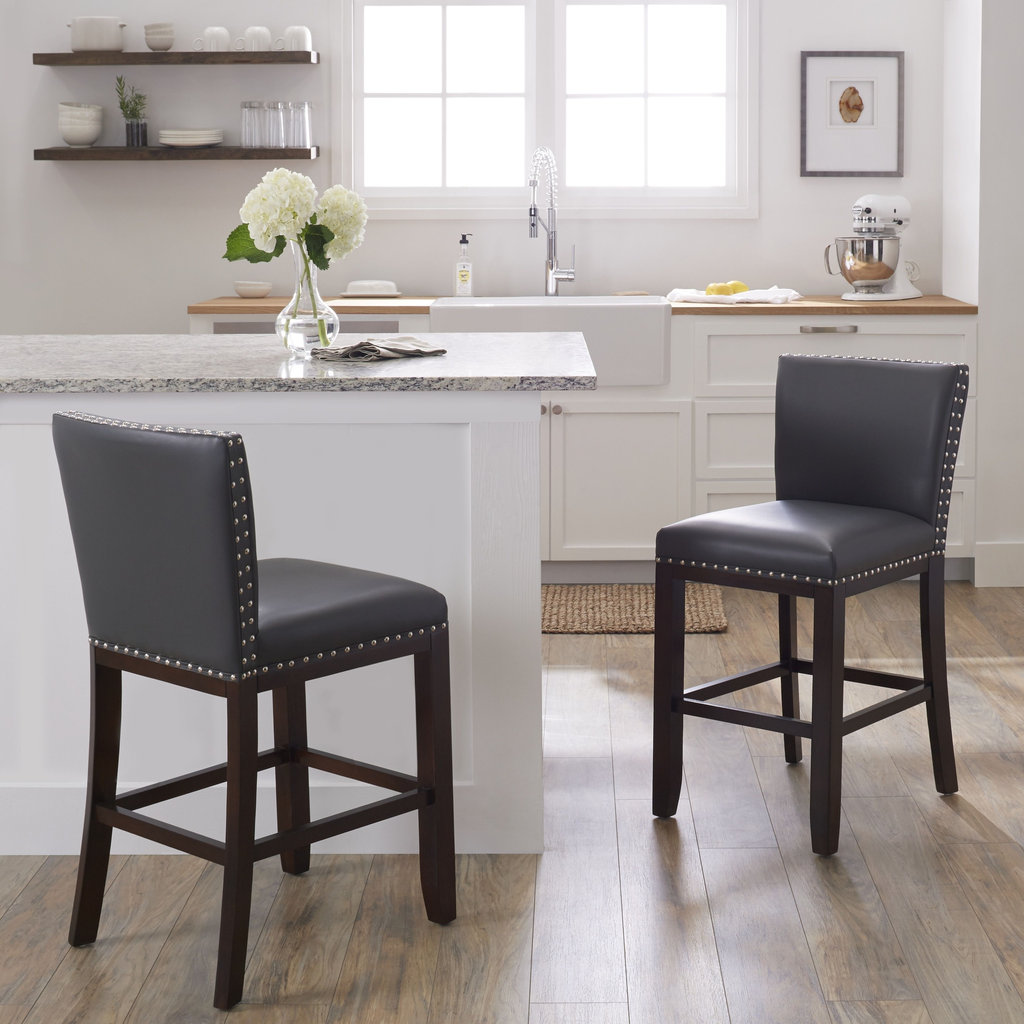 24 Inch Counter Chairs Booster For Kids Oliver James Hugo Stool Tisbury Brown Grey Set Of 2