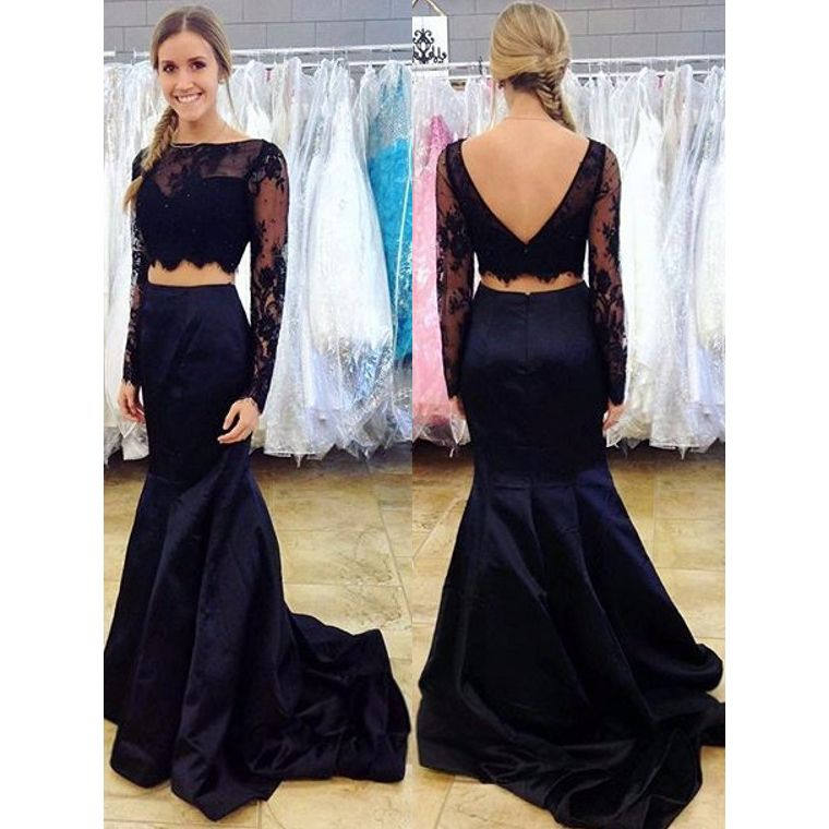 Navy Blue Two Piece Prom Dress, Long Sleeve Lace Prom Dresses ...