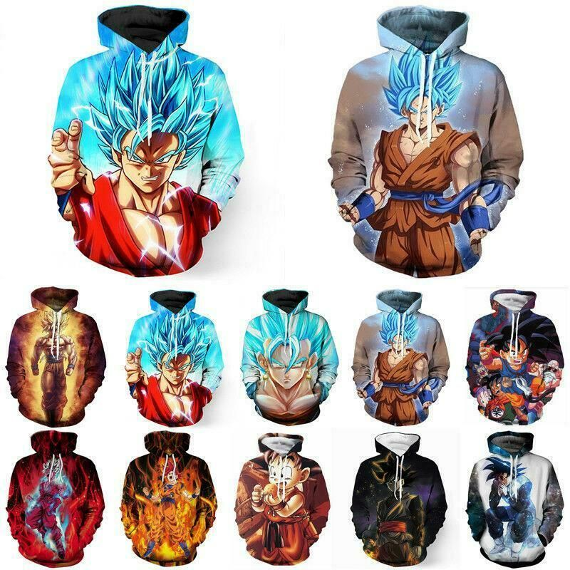 Unisex Dragon Ball Z Super Saiyan Goku 3D Print Hoodie Sweatshirt Pullover Tops