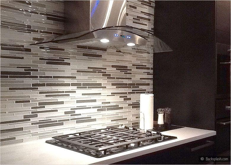 Espresso Brown Dark Kichen Cabinets White Countertop Gray Mosaic