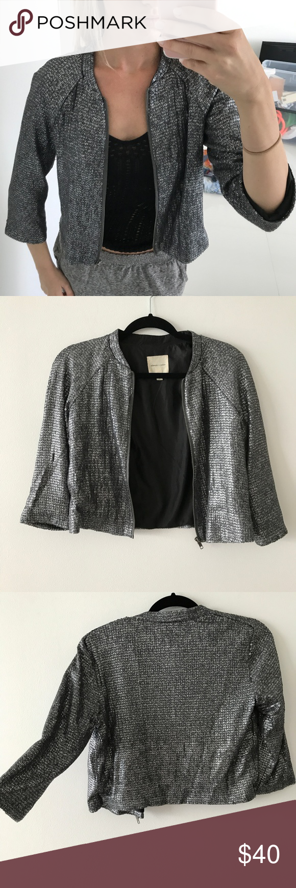 Silver Sequin Cardigan Like New Condition | Sequin cardigan ...