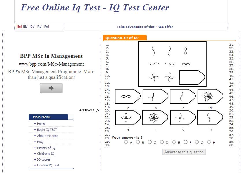 Тест на айкью онлайн на время