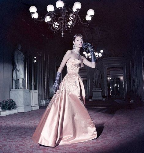 Elsa Martinelli in embroidered satin evening gown, photo by Elsa Haertter in foyer of Teatro alla Scala in Milan, 1954
