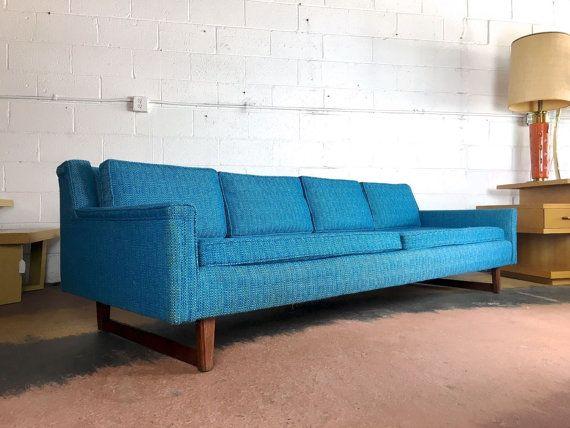 SOLD Mid Century Modern Blue Turquoise Sofa Dunbar HARVEY PROBBER - wohnzimmer modern turkis