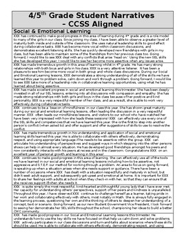 4th 5th Grade Student Report Card Narratives Targets Ccss Aligned Report Card Comments Social Emotional Learning Ccss