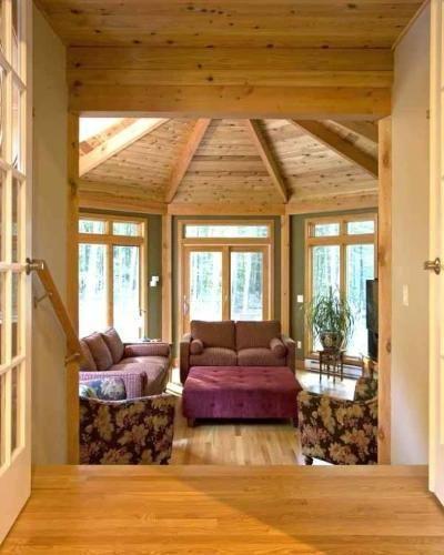 Large Sunroom Ideas: Large Octagonal Glass Sunroom In Devonwood CT With Beamed