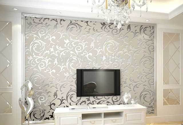 Gold/Silver/Beige Modern 3d wallpaper roll mural papel de parede floral Papel Decorativo wall paper for Living Room 0.53x10M