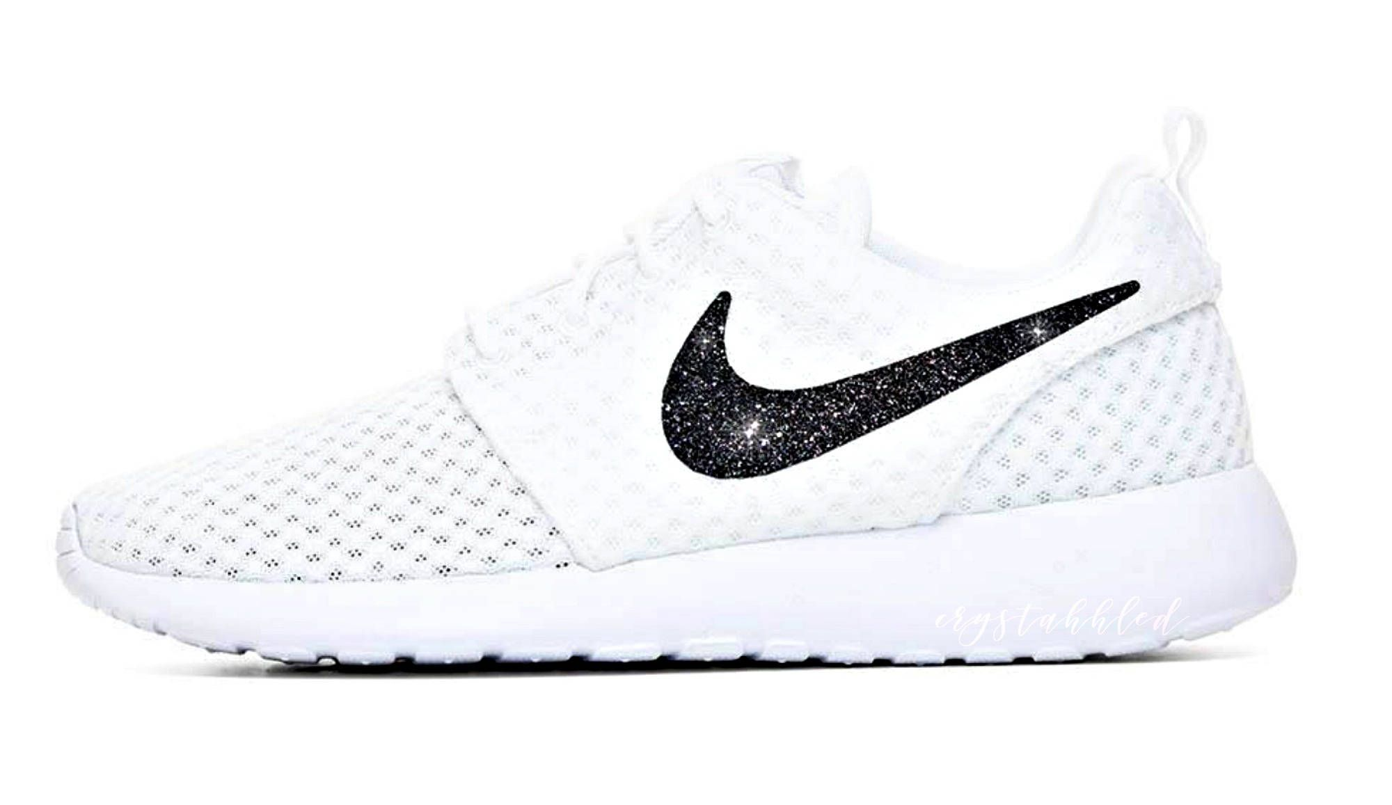 Women s Nike Glitter Roshe One in Pure White w  Galaxy Black Glitter Swoosh  - Custom Nike Bling - Sparkle Shoes - Bling Sneakers by CrystahhledDesigns  on ... fe49d6307e