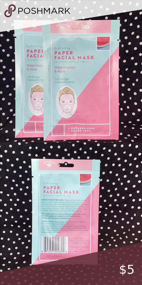 COPY - COPY - 🎉Major Mark⬇️5 for $12 or 10 for $2… ⭐️2pk Bolero Face Masks⭐️   Two Watermelon & Aloe Hydrating Paper Face Mask  Good for all skin types!   🎉5 for $12 or 10 for $22🎉 Bolero Skincare Mask