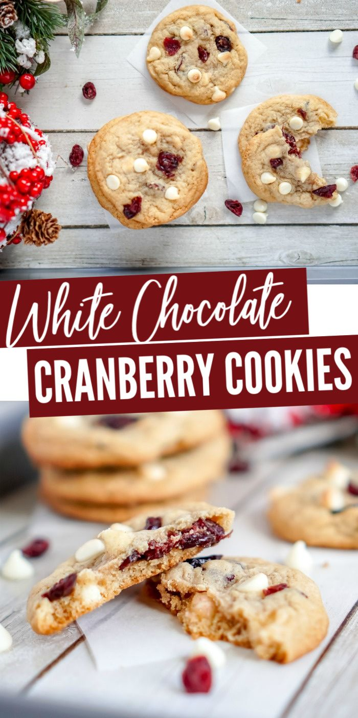 White Chocolate Cranberry Cookies These simple cookies are perfect for the holidays Made with cinnamon and have all of the flavors of Christmas for Cookie Exchanges Parti...