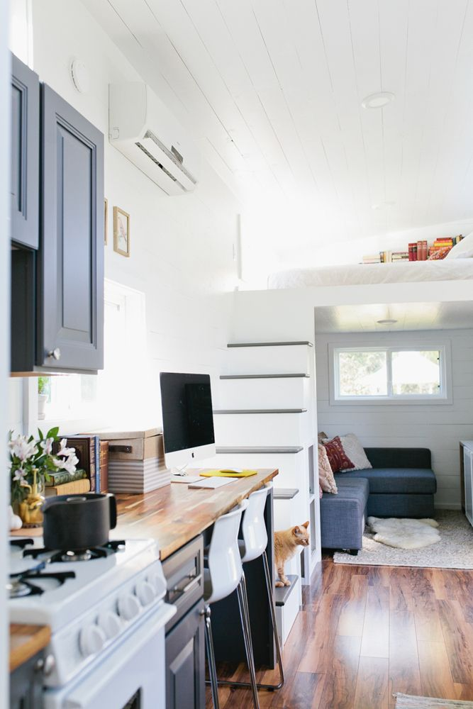 Golden by American Tiny House | Living rooms, Storage and Spaces