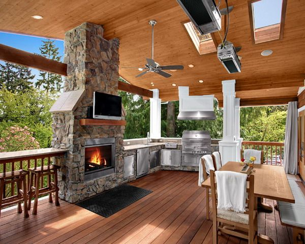 Indoor Outdoor Kitchen Space With Fireplace Outdoor Kitchen Design Diy Outdoor Kitchen Traditional Porch