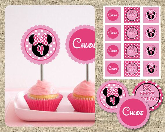 Minnie Mouse Cupcake Toppers  DIY Printable by SugartreePrints, $8.00
