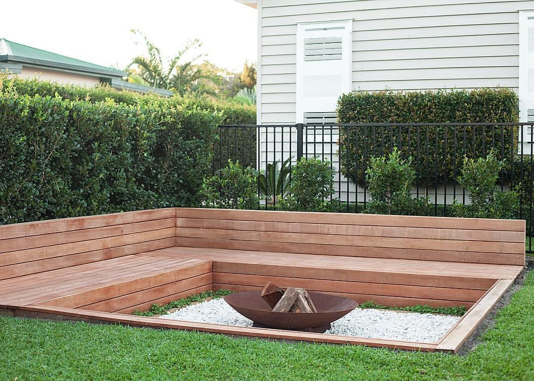 Sunken Firepit With Built In Timber Seating With Storage