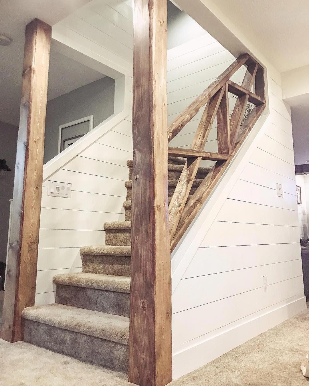 "???????????????? ???????????????????? on Instagram: ""Good morning!! It's been so rewarding watching our basement staircase change from all of our hard work and DIY-ing. I thought it would be…"" #remodelbasement #staircaseideas"