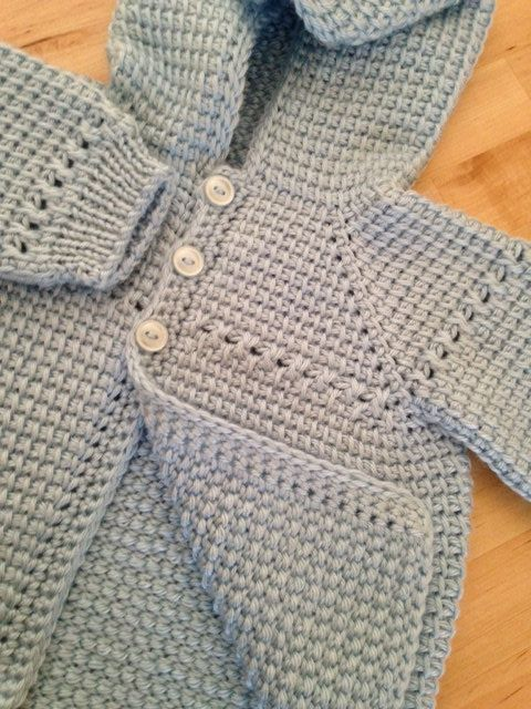 Blue Baby Boy Sweater with Hood - MADE TO ORDER - Tunisian Crochet ...