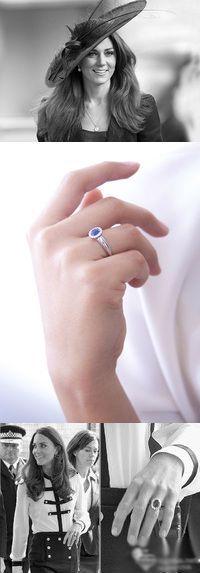 Kate Middleton - bague de fiancailles en saphir bleu