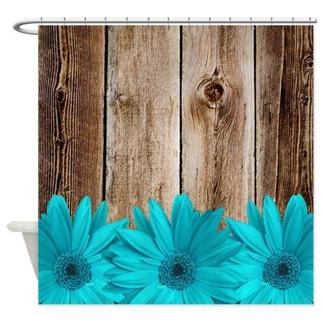 Rustic barn wood teal daisies shower curtain A unique