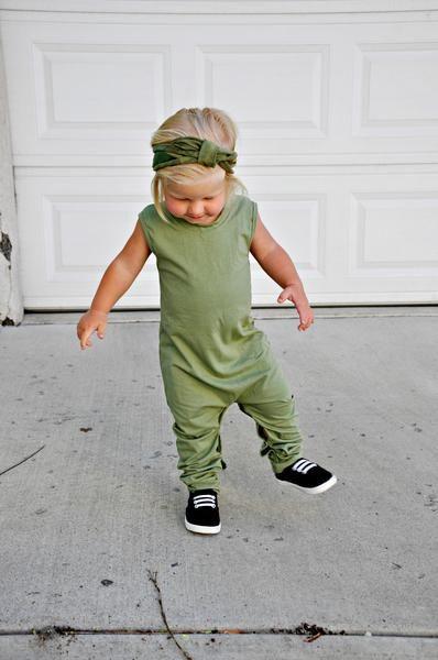 Toddler fashion harem romper olive green black little girls fashion little