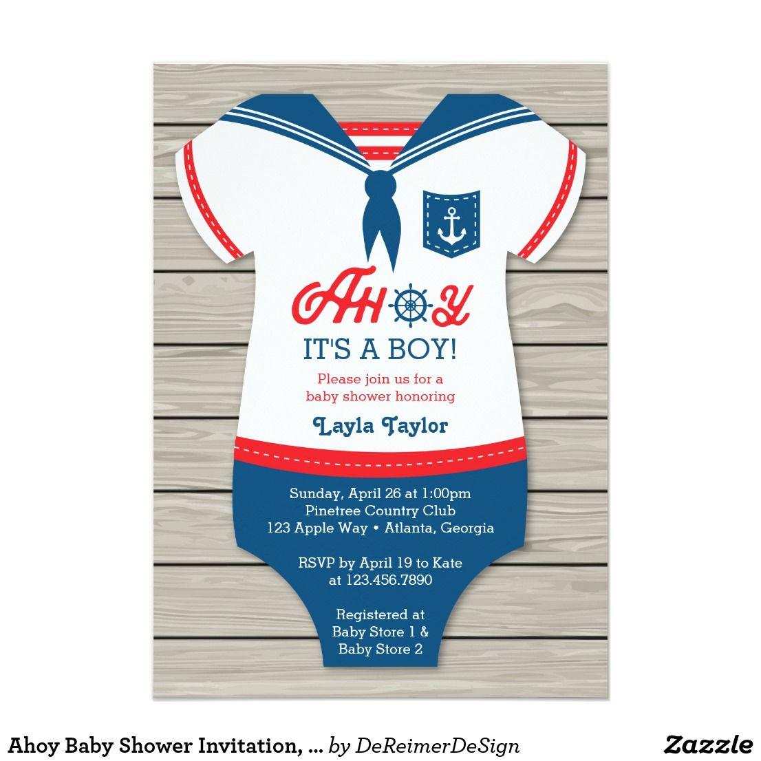 Ahoy Baby Shower Invitation, Sailor, Nautical Invitation | Shower ...
