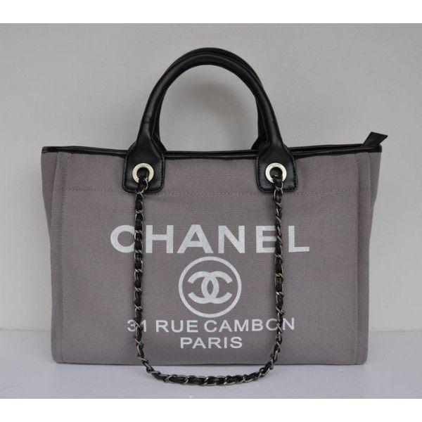 Borse Chanel Outlet Italia.A66941 Borse Chanel Cambon In Tessuto Grigio Chanel Outlet