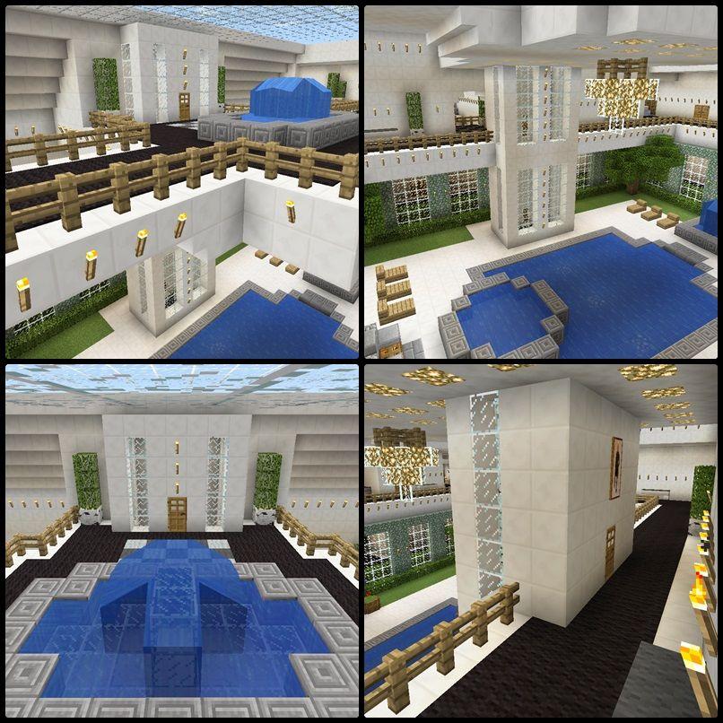 Minecraft Elevator Atrium Fountain House Balcony Minecraft Mansion Minecraft Mansion Tutorial Minecraft Plans