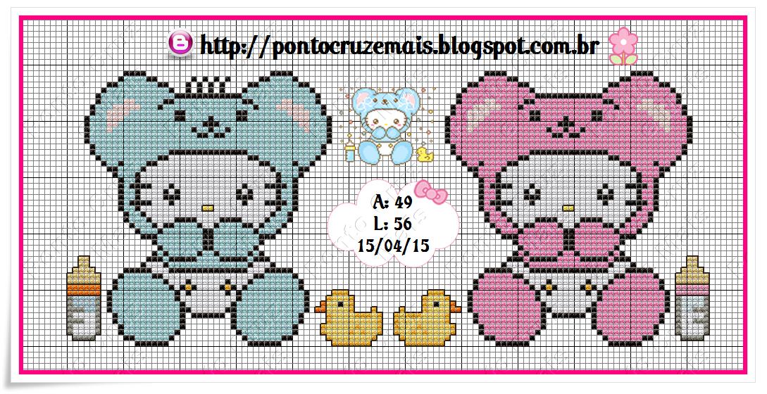 Ponto Cruz e Mais: Hello Kitty Bebês em Ponto Cruz | Ponto cruz ...