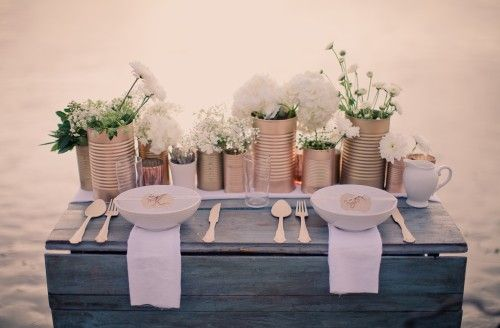 Tin Cans Used As Vases Centerpieces Yes Please