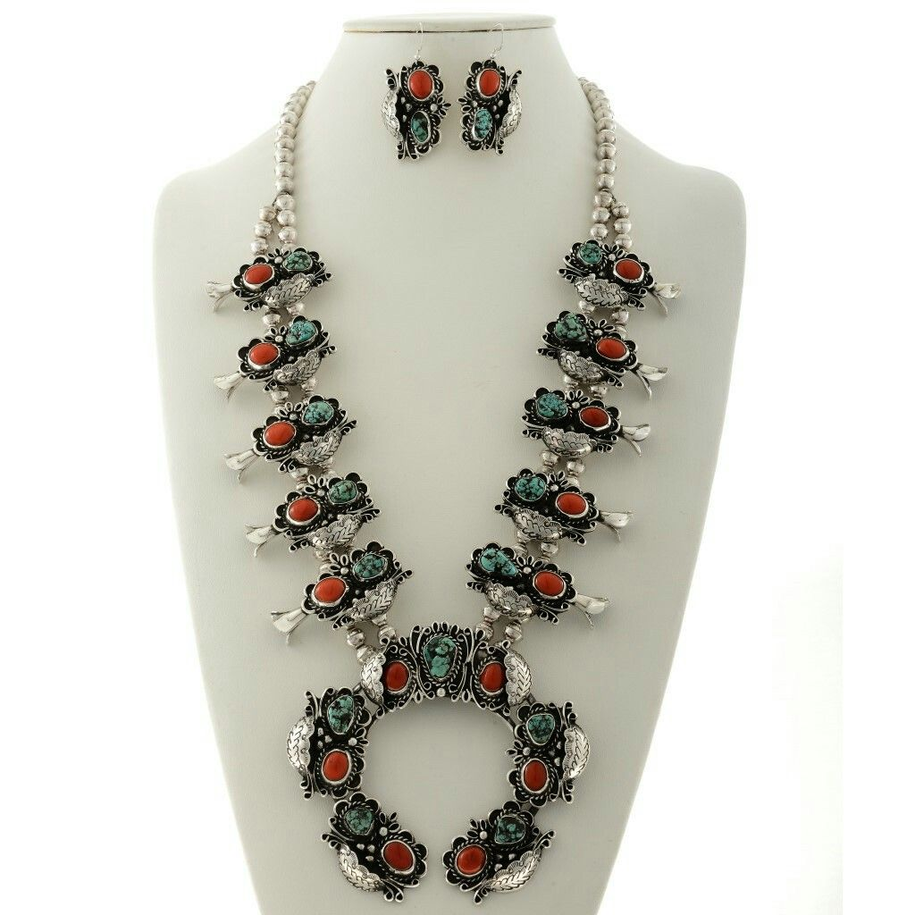Vintage Turquoise Coral Squash Blossom Necklace Earrings Set Signed