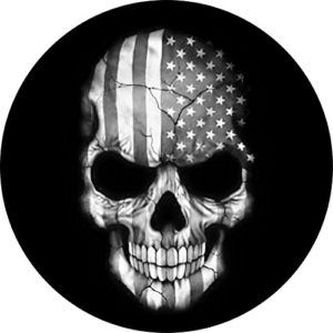 Customgrafix Black And White Jeep American Flag Skull Tire Cover