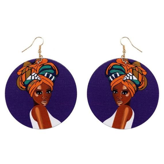 1 Pair Black Girl Magic Lightweight Ethnic Natural Wooden Earrings Jewelry