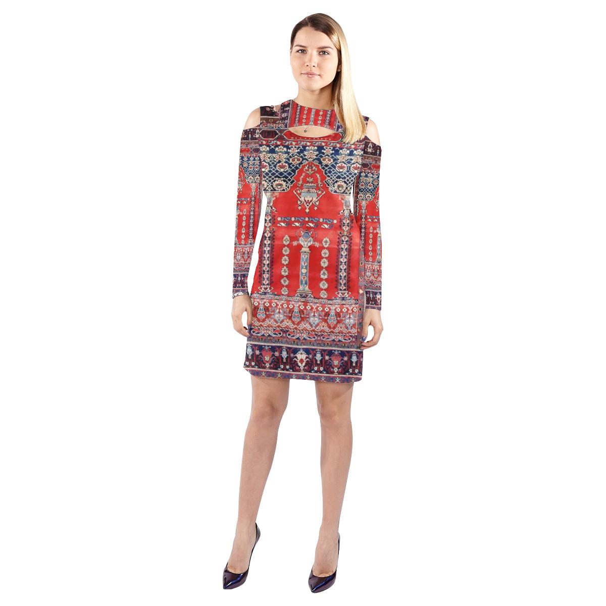 Red blue vintage antique persian rug cold shoulder long sleeve dress