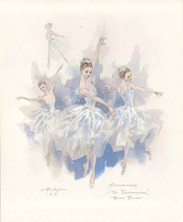 Boston Ballet Snowflake Sketch by Robert Perdziola
