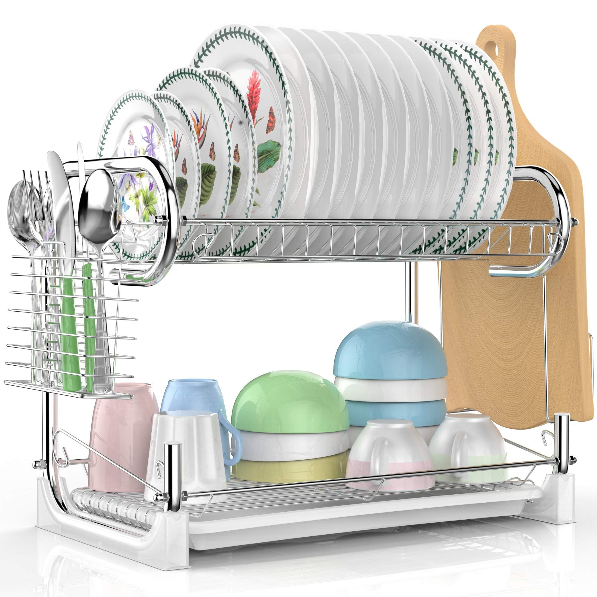 Dish Drying Rack Veckle 2 Tier Dish Drainer Easy Install Nonslip