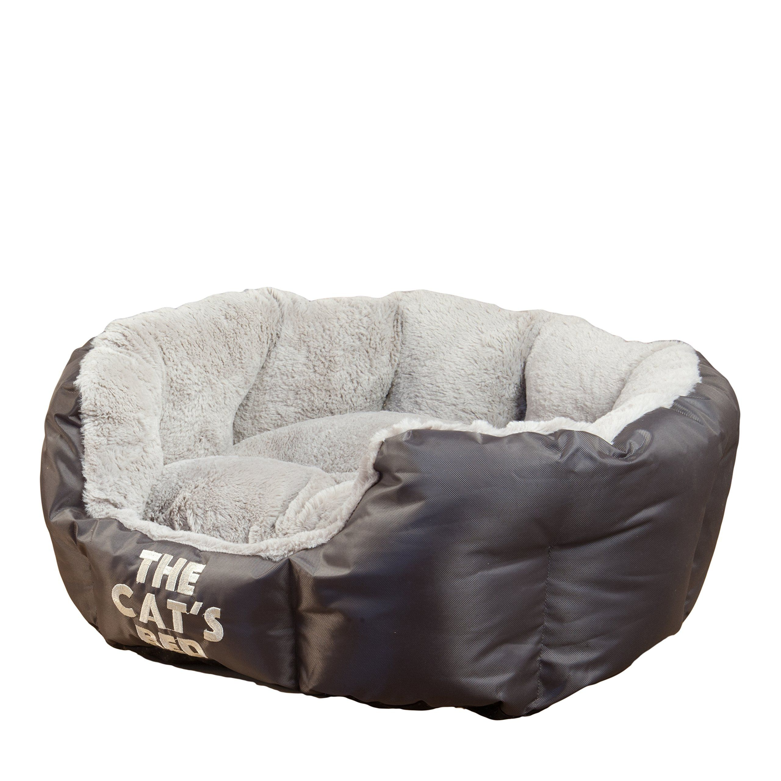 The Cats Bed Premium Plush Cat and Kitten Beds in Grey and