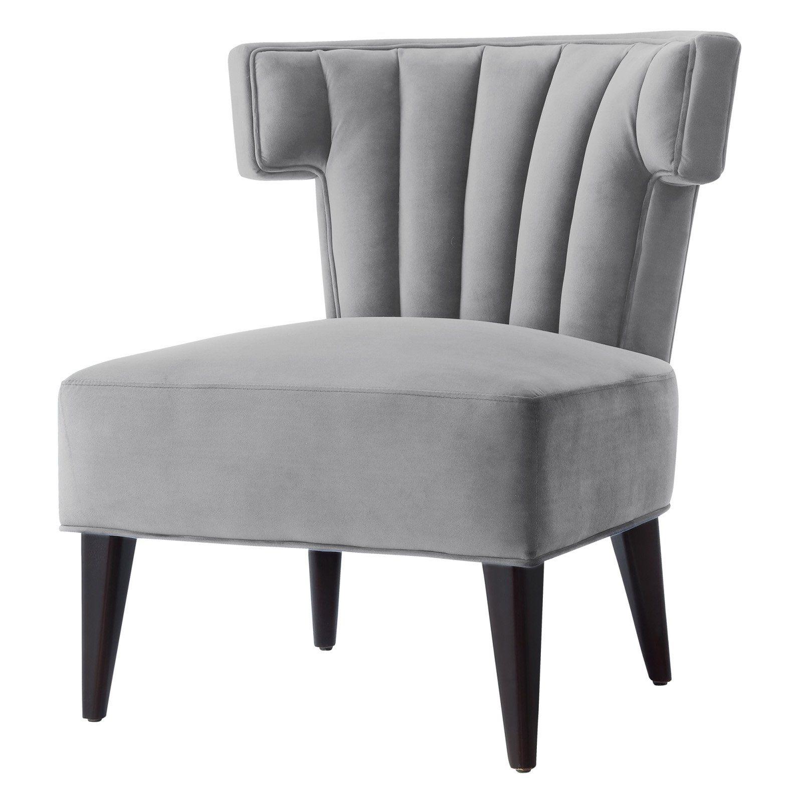 Best Nicole Miller Payton Velvet Accent Chair Gray Velvet 400 x 300
