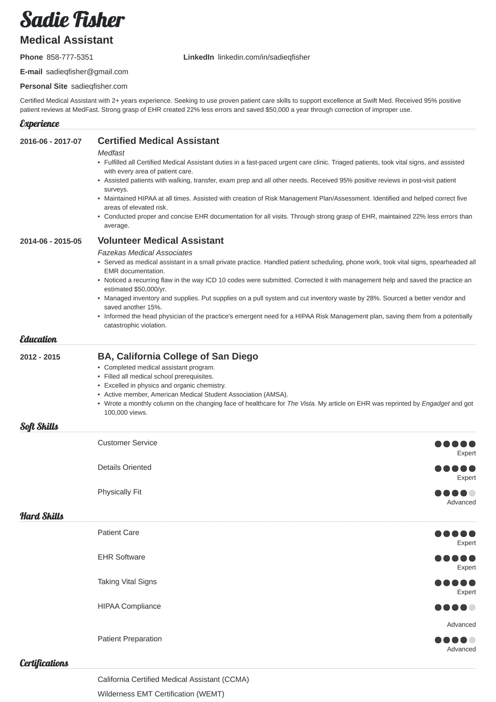 medical assistant resume template valera in 2020 Medical