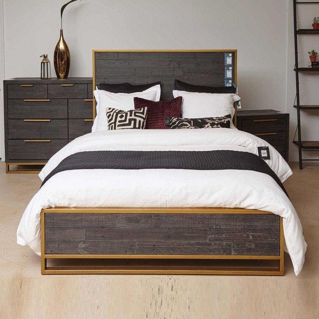 Elle Brass Frame Reclaimed Wood Queen Platform Bed Panel Bed