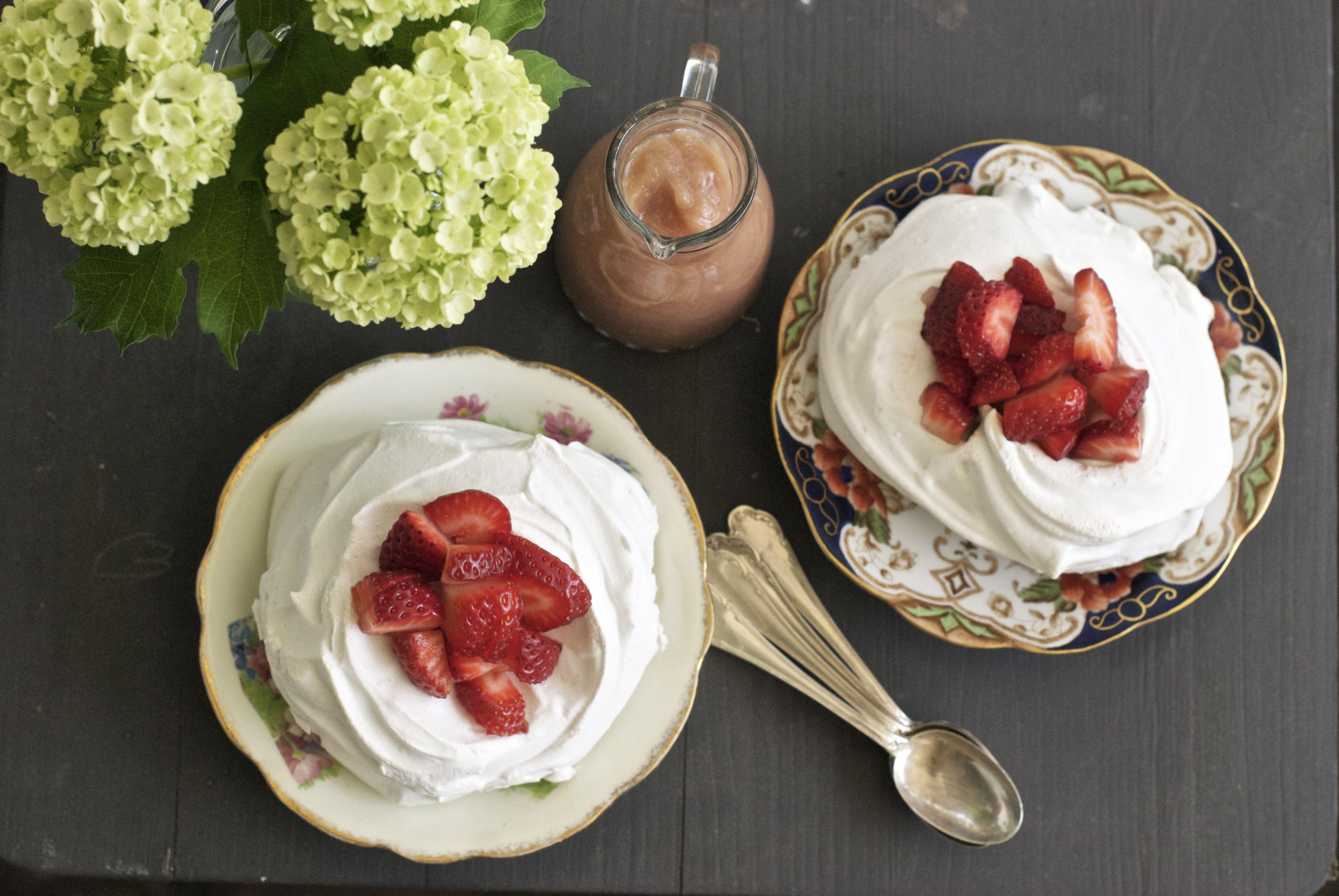 Strawberry pavlova with rhubarb coulis