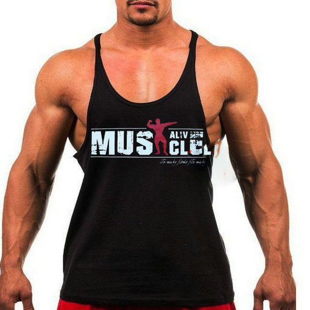 90a5e0c5ea31e4 Fitness cotton shark tank top men Sleeveless tops for boys bodybuilding  undershirt