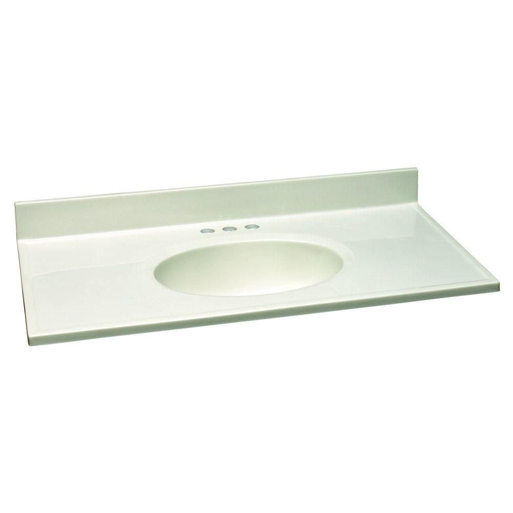 Design House 37 In W Cultured Marble Vanity Top With White On White Bowl 551077 The Ho Cultured Marble Vanity Top Marble Vanity Tops Marble Vanity