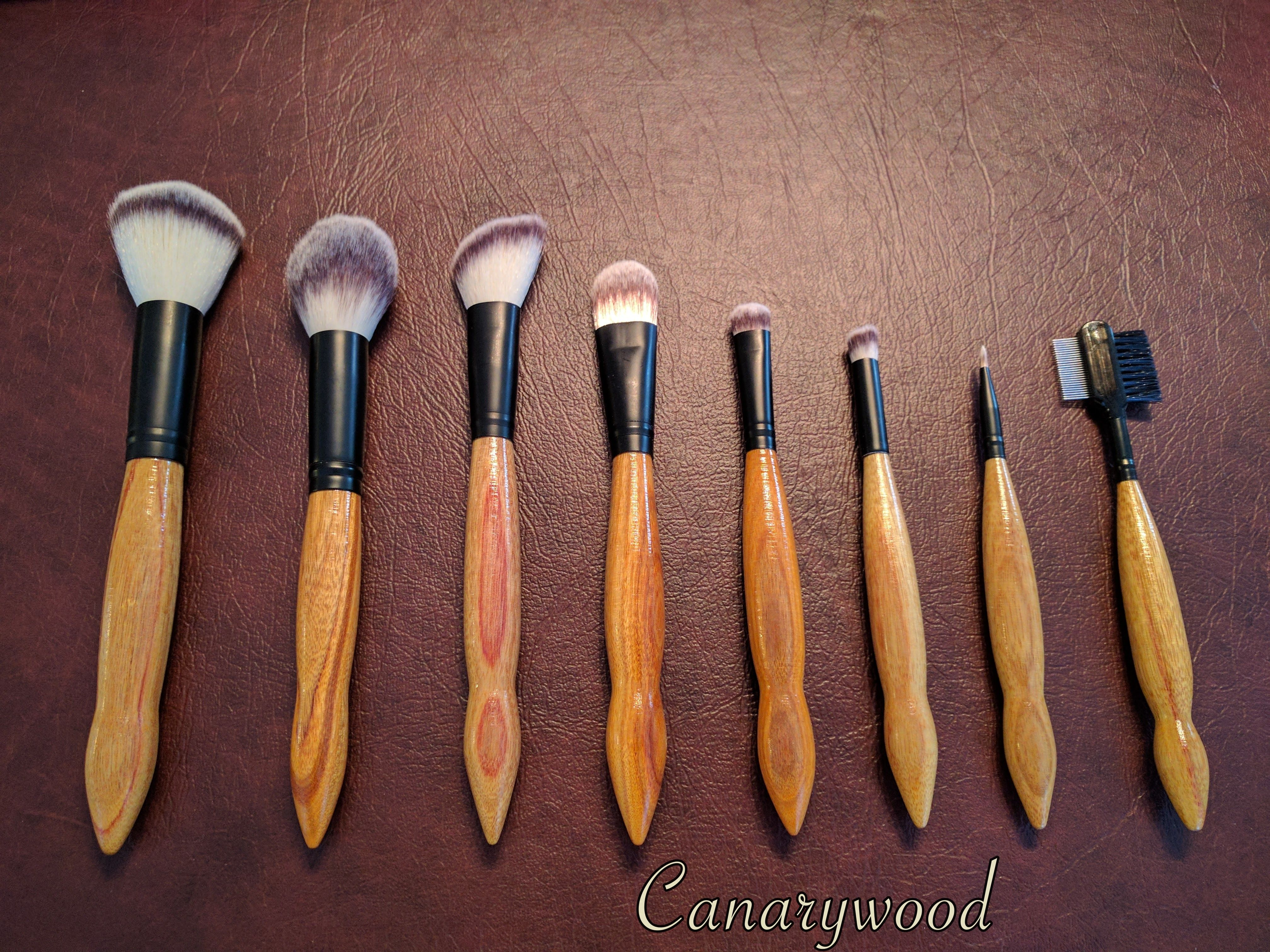 Canary Wood makeup brushes. Custom orders available on our