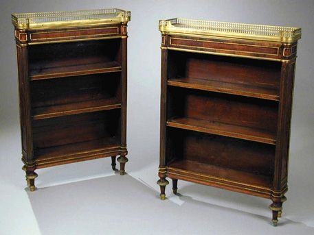 Consuelo Vanderbilt | From the estate of Lady Sarah Spencer-Churchill Companion Pair of Louis XVI Gilt-Bronze Mounted Mahogany Diminutive Bookcases; previously among the collection of Consuelo Vanderbilt Balsan, Hotel de Marlborough, 9 Avenue Charles Floquet, Paris. Sold for  $ 46,000 at Doyle New York Auction, 15 May 2001. Sale 0105151 - Lot 63.  Late 18th century